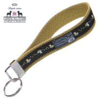 WRISTLET KEYCHAIN - TINY HORSES CRAZY NUMBERS ON DARK BROWN